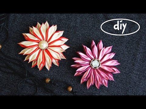 Как сделать цветы из лент которые ленты шириной 1 см