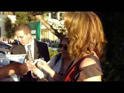 Fiona Shaw Marnie on True Blood signs autographs for fans at the true blood season 4 premiere.MP4