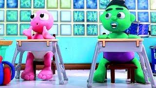 Babygum & baby Hulk music lesson  Superhero Play Doh Stop motion cartoons for kids