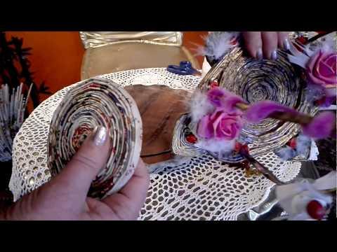 Gondel/Schiffchen--förmiges   Körbchen aus Papierröllchen, Dekodraht sowie bei Bedarf Pfeifenreiner