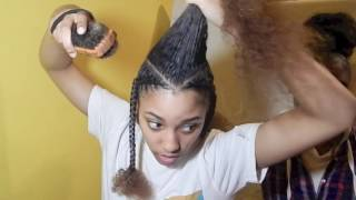 Half up half down with braids style on 3C hair - Natural hair
