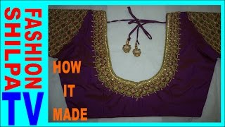 Download How to make Designer blouse at Home-44|| maggam work neck line || zardosi work for beginners | 3Gp Mp4