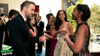 Malia Obama Gives Her Thumbs Up as Sister Sasha Meets Ryan Reynolds