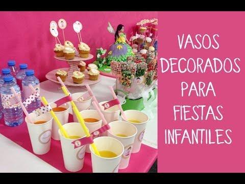 vasos decorados para fiestas infantiles youtube On vasos para cumpleanos infantiles