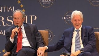 Presidential bromance: Bush and Clinton trade jokes, discuss family and 2016