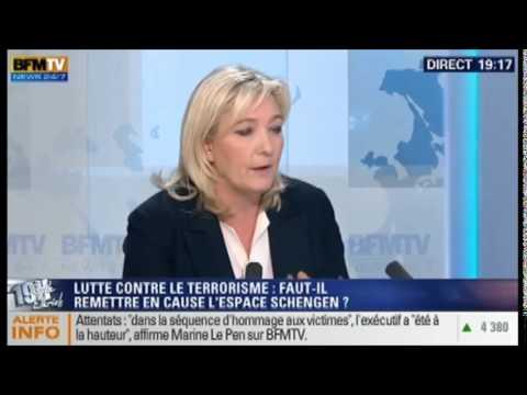 16/01/2015 Marine Le Pen était l'invitée de Ruth Elkrief sur BF MTV