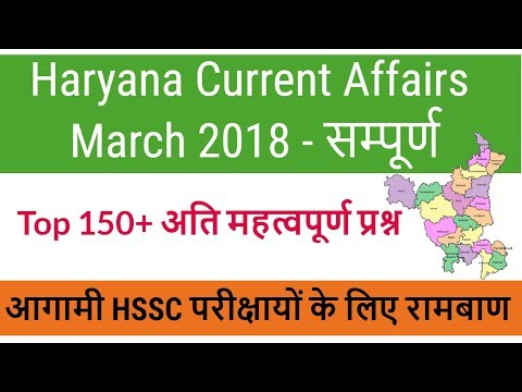 Top 150+ Most Important Haryana Current Affairs March 2018 for  Haryana Police