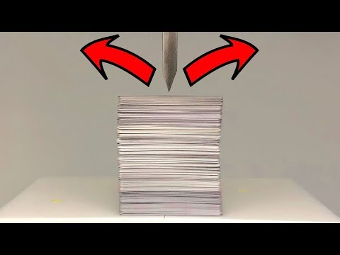 EXPERIMENT HYDRAULIC Guillotine 100 TON vs 500 POKER Plastic Playing Cards