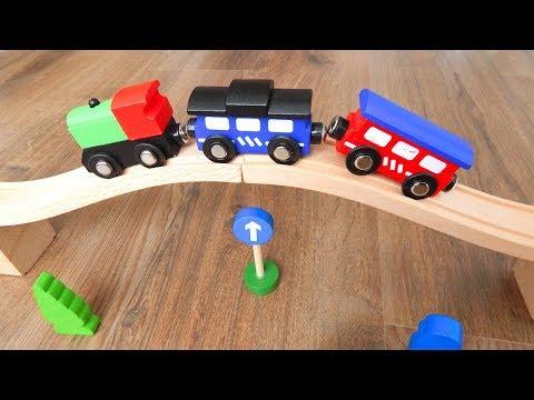 Поезда Деревянная Железная дорога Видео для детей про машинки игрушки