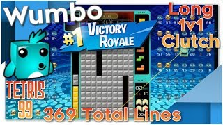 Tetris 99 - Long 1v1 Clutch #1 Victory Royale - 369 Total Lines