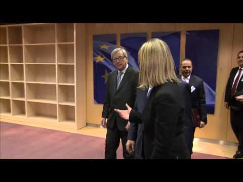 Jean Claude JUNCKER, President of the EC and HRVP Federica MOGHERINI with Mahmoud ABBAS, President o