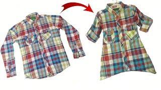 Diy Shirt convert in to Girls kurta // by simple cutting