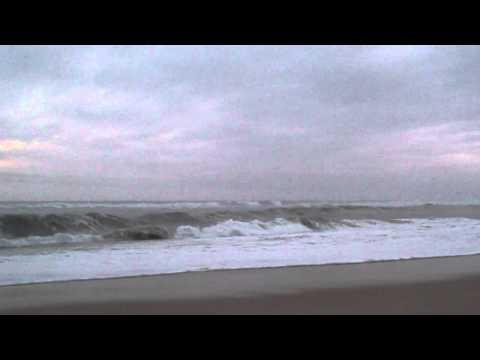 (3) Ocean seen from Fire Island, Long Island, New York, U.S.A.  Hurricane Katia offshore