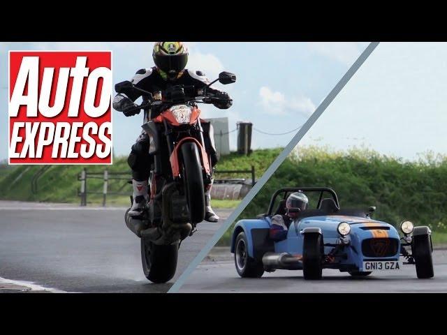 KTM 1290 Super Duke R vs Caterham 620R: EPIC car ... - YouTube