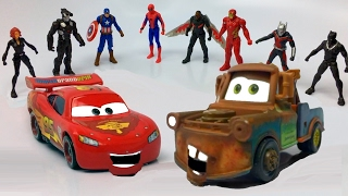 Disney Pixar Cars Lightning McQueen and Tow Mater Unbox Marvel Captain America Spider-Man Toys Movie