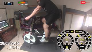 Watt Bike training with Dashware overlay for wattage,heart rate speed & cadance @  CAVVE CP