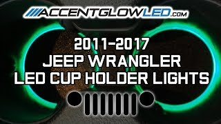 Jeep Wrangler JK LED Cup Holder Lights Install 2011-2017 AccentGlowLED