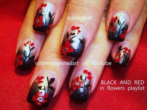 Black Ombre w/ Red Flower Nail Art