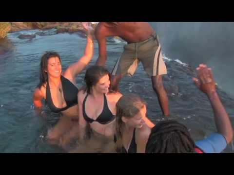 Girls defy death at Victoria Falls! Devil's Pool, Livingstone Island, Zambia