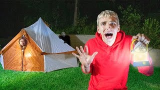 24 Hour Overnight Camping Challenge Cancelled at 3am!! (Mystery Monster Spotted in Our Backyard)