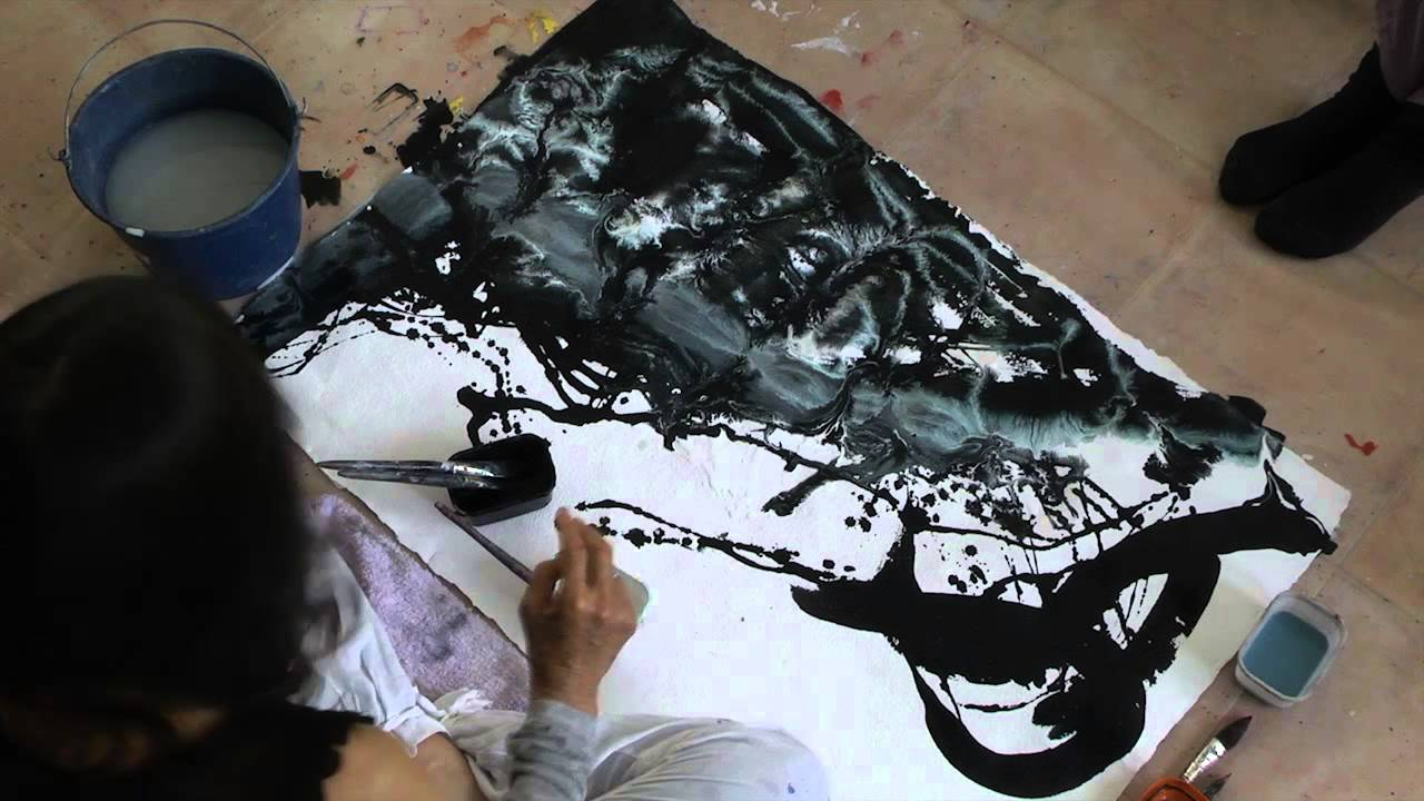 Meera black and white painting demo amalurra 2013 youtube for White and black paintings