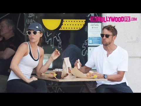 Jenson Button & Brittny Ward Have Lunch At Ink Sack While On Break From Formula One Racing