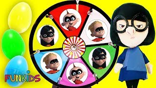 INCREDIBLES 2: Heroes VS Villains Spinning Wheel Game with Toy Surprises