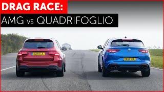DRAG RACE! Mercedes-AMG GLC 63S vs Alfa Romeo Stelvio Quadrifoglio w/ Tiff Needell