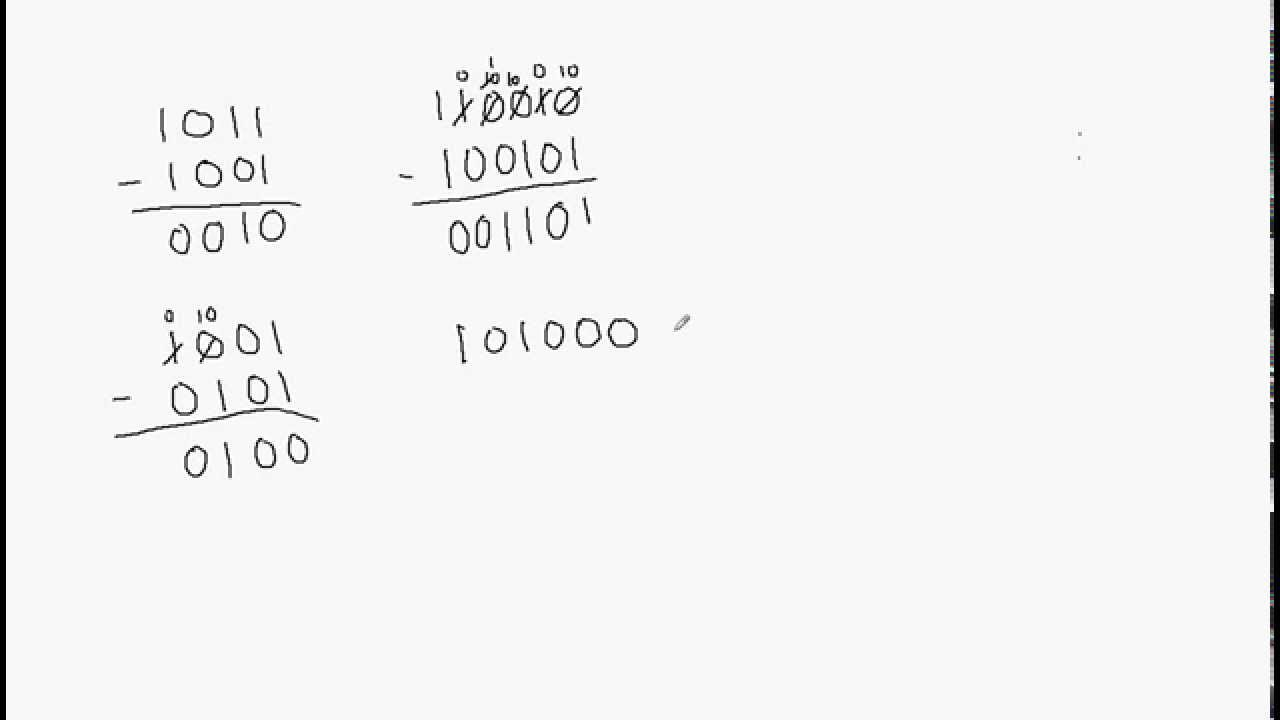Binary Numbers Subtraction Binary Number Subtraction