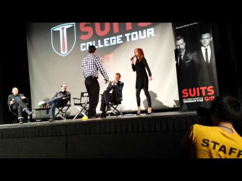 Suits College Tour @ UCLA - Sarah Rafferty struts, Gabriel Macht sings Burn Baby Burn.