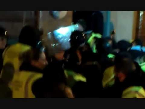 Police and Bailiffs bring Angle Grinder - Bank of Ideas/UBS Eviction 30 January 2012