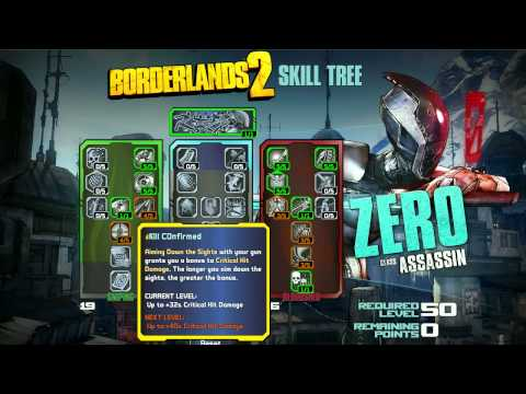 Borderlands 2 Skill Tree Builder - Zero Assassin Class