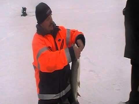 Muskie Bay Resort Ice Fishing January 4, 2012 on Crow Lake. Fishing for Lake Trout