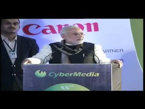 Narendra Modi addressing at the CyberMedia ICT Business Awards 2013 in Delhi