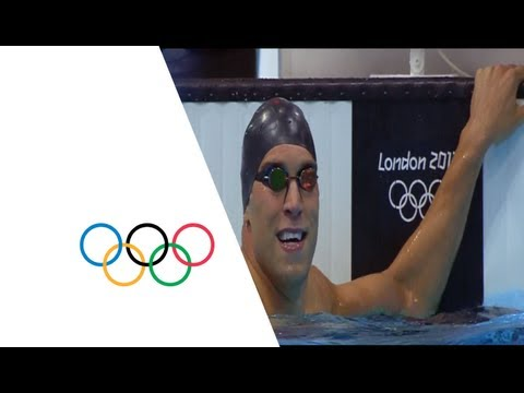 The USA's Matthew Grevers sets a new Olympic record of 52.16 as he wins the men's 100m backstroke event at the London 2012 Olympic Games (30 July). Grevers c...