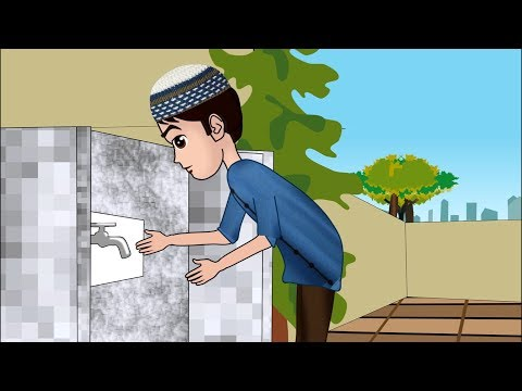 Abdul Bari learning wudu (wazu) with Ansharah in Urdu