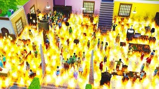 I Placed 150 Sims Inside A Very Flammable House In The Sims 4