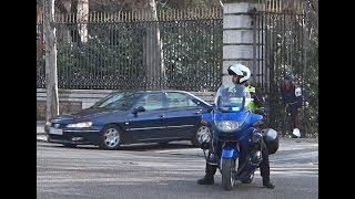 Military Police motorcade Spanis Royal Guard. Escolta Policia militar de la Guardia Real en Madrid