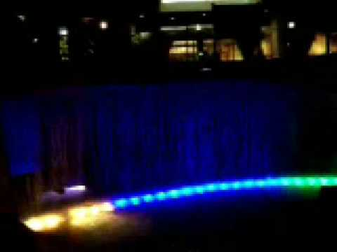Disneyland DL Hotel Colorful Waterfalls Night Dlx Snd CLIP 092707