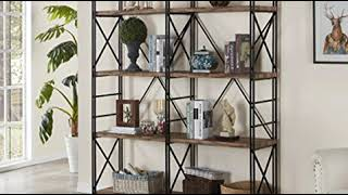 SAVE  4 Shelf Industrial Double Bookcase and Book Shelves, Storage Rack