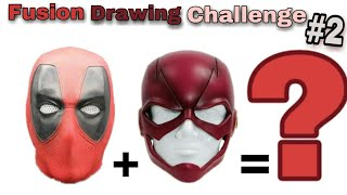 Fusion Drawing Challenge #2 ! Deadpool mask fusion with Flash mask! MARVEL and DC Character fusion