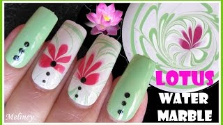 LOTUS FLOWER WATER MARBLING SUMMER NAIL ART DESIGN TUTORIAL USING FALSE NAILS HOW TO