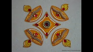 DIY - Kundan rangoli | Diya rangoli for diwali | creative ideas to decorate acrylic rangoli