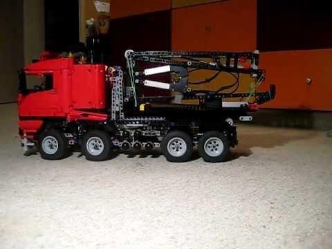 lego technic 8258 als hakenlift lkw mit abrollcontainer. Black Bedroom Furniture Sets. Home Design Ideas