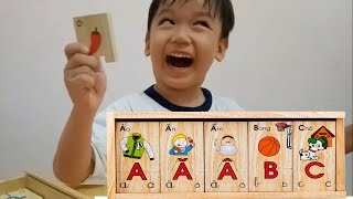 Cùng bé học chữ cái tiếng Việt với bộ đồ chơi chữ cái bằng gỗ kênh trẻ em - video cho bé yêu