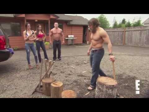 Total Divas Season 1, Episode 2 clip: Bella Twins, John Cena & Daniel Bryan in wood chopping contest