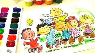 Peanuts Movie Snoopy and Charlie Brown Coloring Drawing