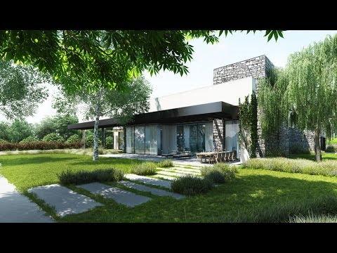 Fachada moderna de casa de un piso con cerco youtube for Fachadas casas modernas de una planta