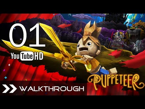 Puppeteer Walkthrough - Gameplay Part 1 (Stolen Away - Act 1 Curtain 1 - Weaver Boss Battle) HD 1080p PS3 No Commentary