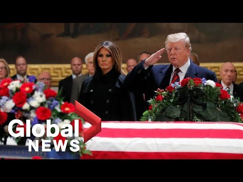 Donald Trump, Melania Trump pay respects to George H.W. Bush at U.S. Capitol